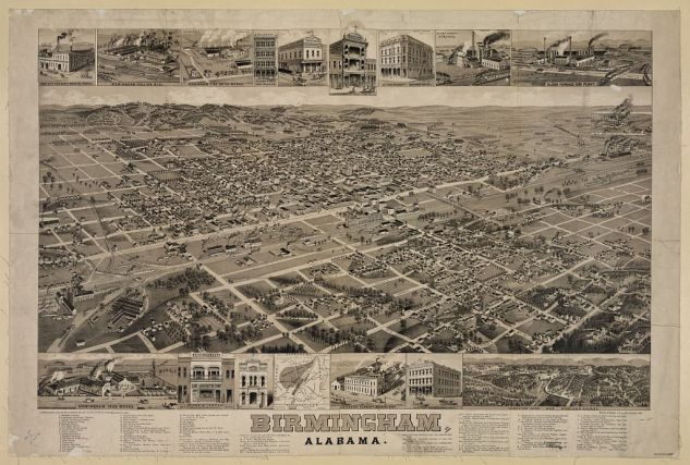 Map of Birmingham, AL, c. 1885. (Beck & Pauli Lithograph, Library of Congress Prints and Photographs Division)