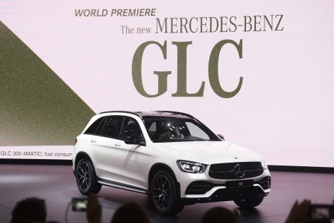 The Mercedes Benz GLC makes it debut on a stage on the opening day of the 89th Geneva International Motor Show in Geneva, Switzerland, on Tuesday, March 5, 2019. (Chris J. Ratcliffe/Bloomberg)