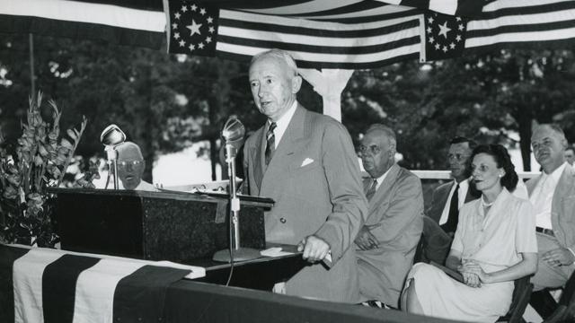 Thomas W. Martin providing a speech at the Yates Dam dedication, June 28, 1947. (Alabama Power Company Archives)