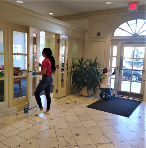 Magic City APSO members spent MLK Day serving YWCA in downtown Birmingham by cleaning and refreshing the lobby, stairwells and second-floor chapel. (contributed)