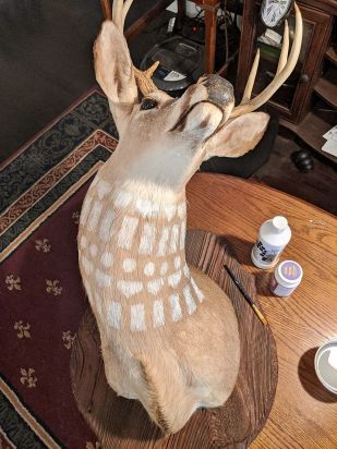 Spanish Fort artist Victoria Thomas is using the hiatus to adorn a deer head with acrylic and gilded gold paints. (contributed/Alabama NewsCenter)