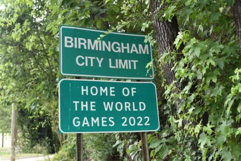 Roadway signs include a reminder that the World Games 2022 will be held in Birmingham. (contributed)