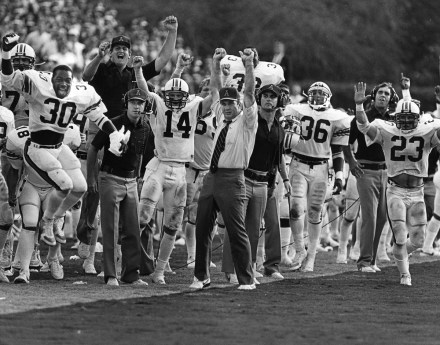 Pat Dye with his team. (AU Athletics)