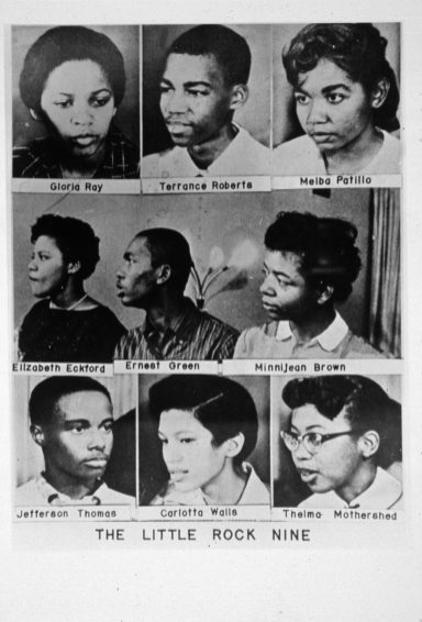 """The """"Little Rock Nine."""" From top left, Gloria Ray, Terrance Roberts, Melba Patillo, Elizabeth Eckford, Ernest Green, Minnijean Brown, Jefferson Thomas, Carlotta Walls and Thelma Mothershed, students who were barred from entering high school by the Arkansas National Guard and a white mob. For their bravery they were awarded the 1958 Springarn medal. (Photo by MPI/Getty Images)"""