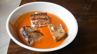 Tomato soup with grilled cheese croutons is like a culinary hug