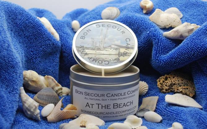 """Bon Secour Candle Co. offers scents like """"At the Beach,"""" a blend of raw coconut, sea salt, vanilla, sugar and musk, and """"Beach Towel,"""" a mix of cotton, lavender, vanilla, jasmine and melon. (contributed)"""