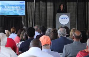 Leslie Sanders, vice president of Alabama Power's Southern Division and chair of the Montgomery County Community Cooperative District, speaks at the Montgomery Whitewater groundbreaking. (Sara Herman / Alabama NewsCenter)