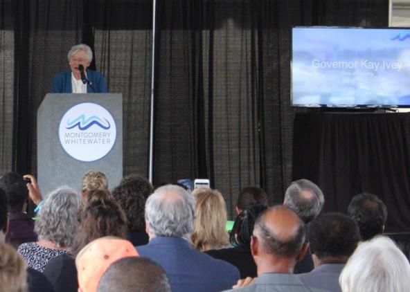 Alabama Gov. Kay Ivey speaks at the Montgomery Whitewater groundbreaking. (Sara Herman / Alabama NewsCenter)