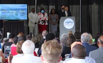 Montgomery Mayor Steven Reed speaks at the Montgomery Whitewater groundbreaking. (Sara Herman / Alabama NewsCenter)