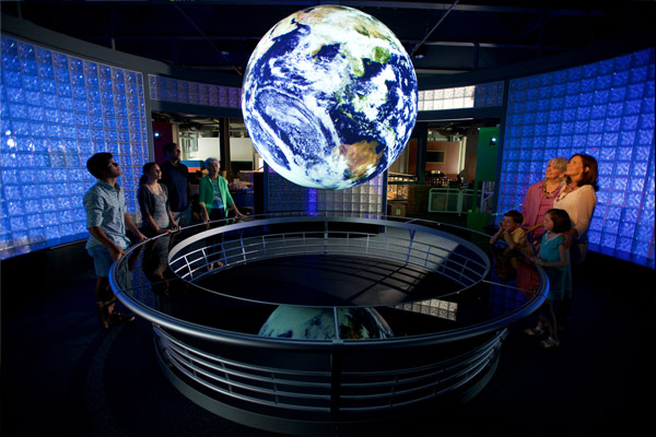 The Ocean Planet Theater, one of many unique exhibits inside GulfQuest
