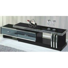 Marble TV Stand with Shelf & Drawer