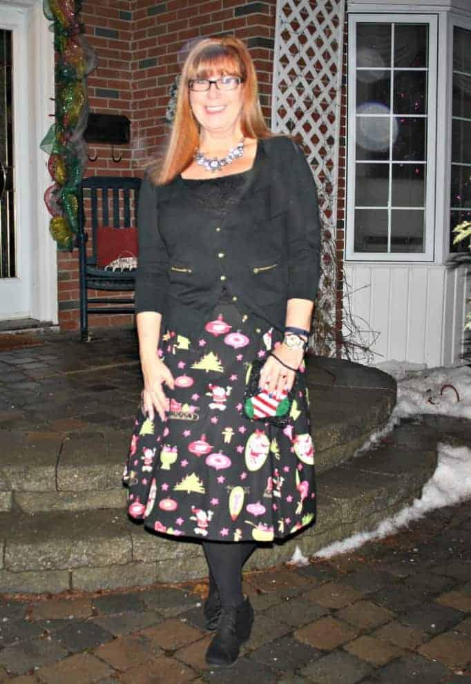 christmas skirt, black cardigan, black wedge boots
