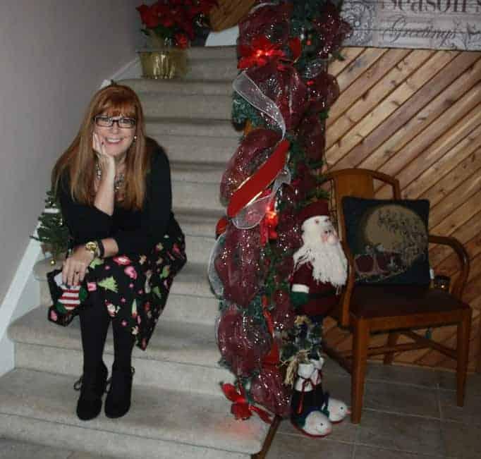 pondering Christmas Eve, in a festive skirt