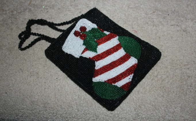 beaded christmas purse