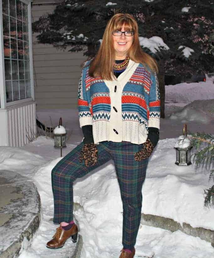 Target plaid pants aztec sweater