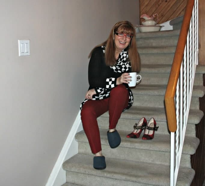 sipping tea on the stairs
