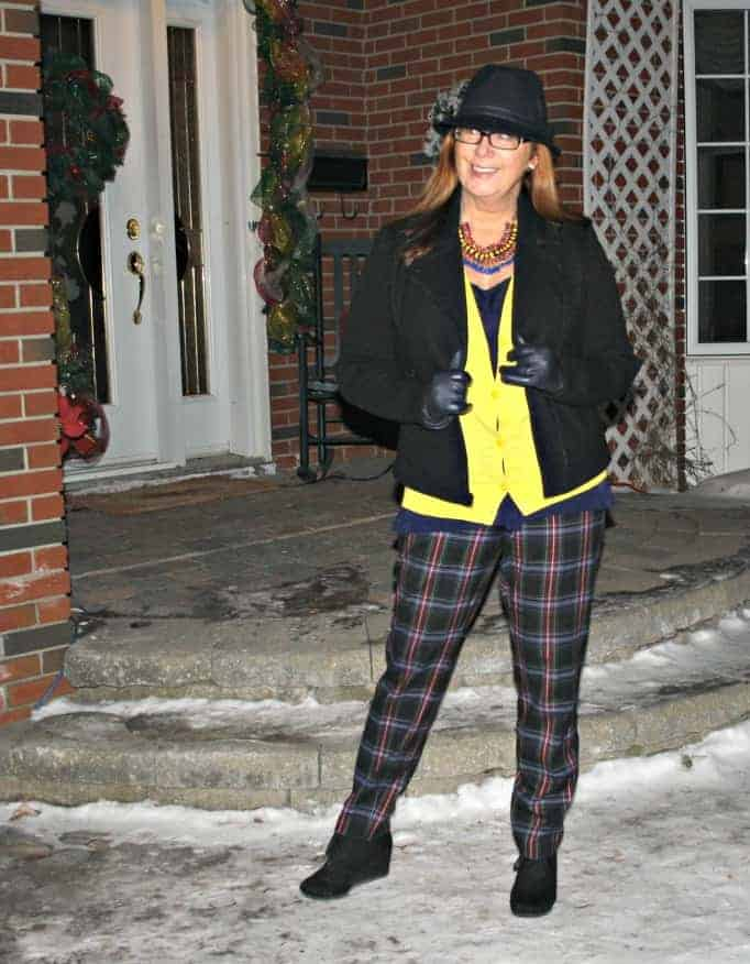 Target plaid pants Banana republic sweater and moto jacket, wedge boots