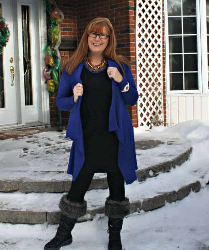 cougar boots and LBD with knit leggings