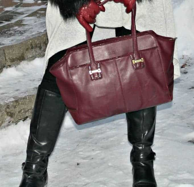 oxblood coach bag and gloves