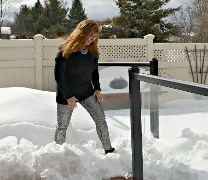 H&M Sequin Pants and J Crew Sweater