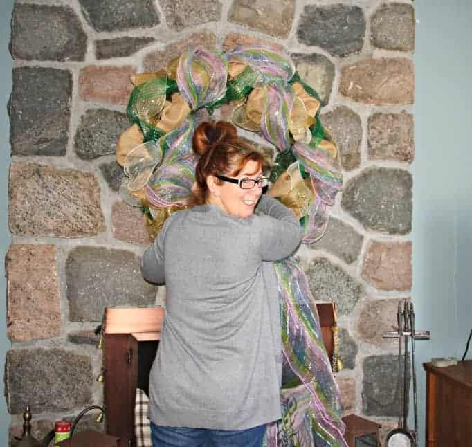 Easter Decomesh wreath adding pastel decomesh