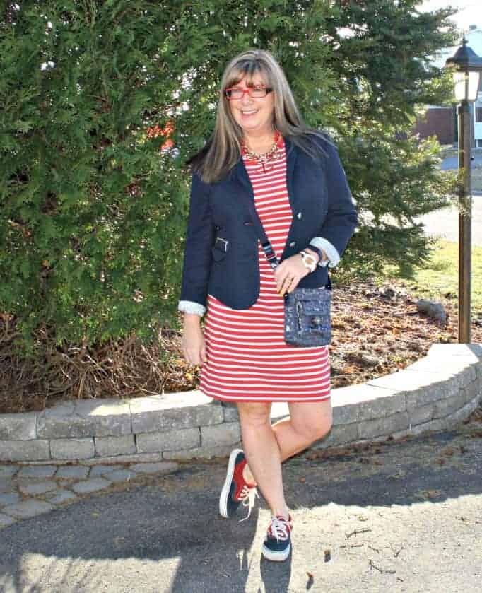 Nautical look, Van sneakers, Navy blazer and red stripe dress