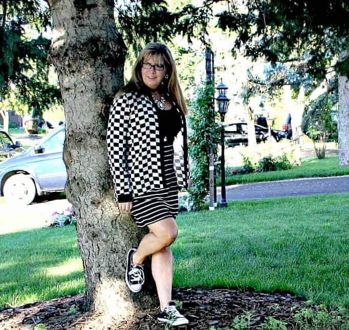 Giant Tiger Dress and Checked blouse from F 21, Black Converse and a black Fedora