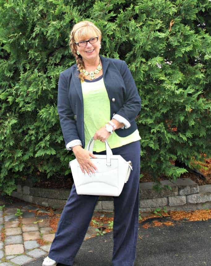 Old navy linen pants,neon cami by gap,  blazer , yosa necklace and Kate spade bag