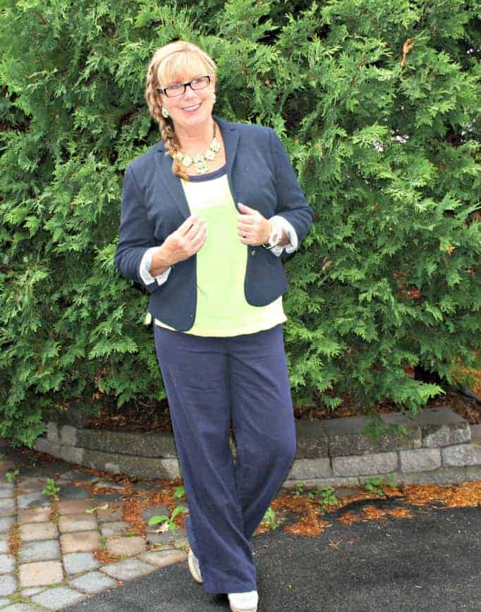 Old navy linen pants,neon cami by gap,  blazer and yosa necklace