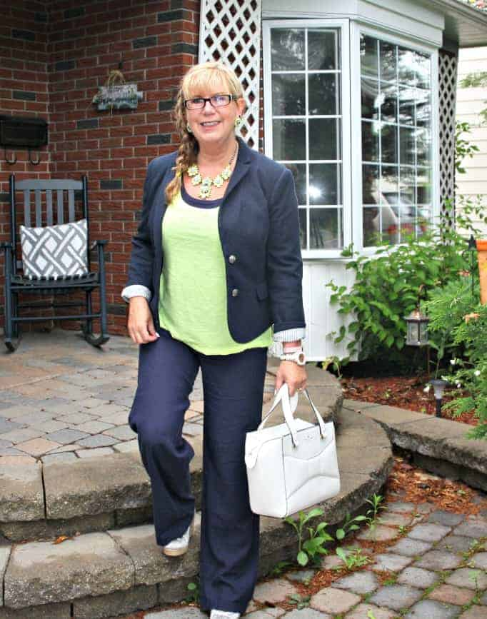 Old navy linen pants,neon cami by gap,  blazer and yosa necklace, payless blue and white wedges