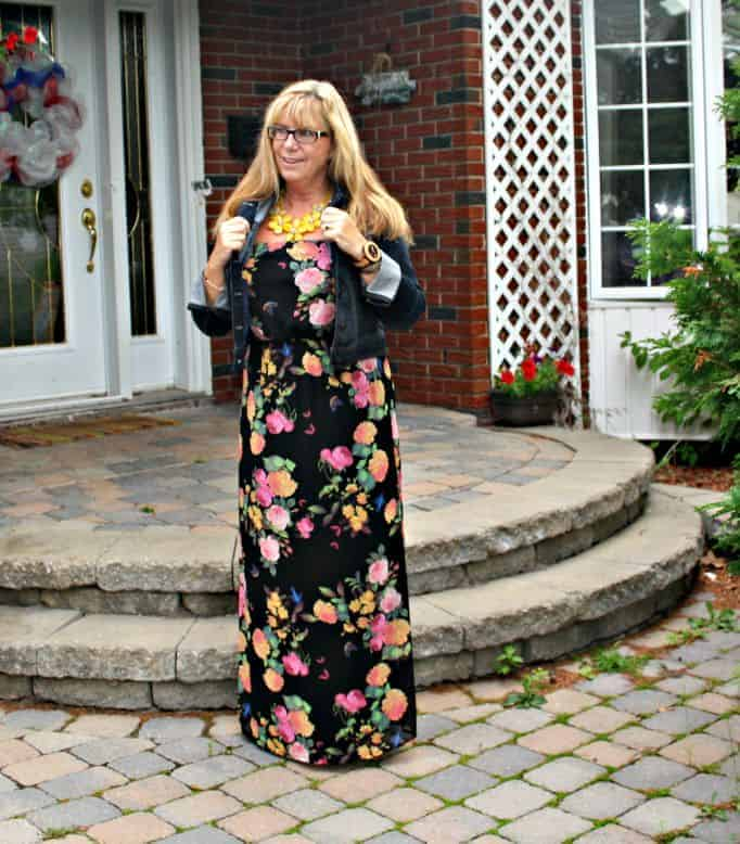 Forever 21 Floral Chiffon Maxi and Target Denim Jacket and jord watch