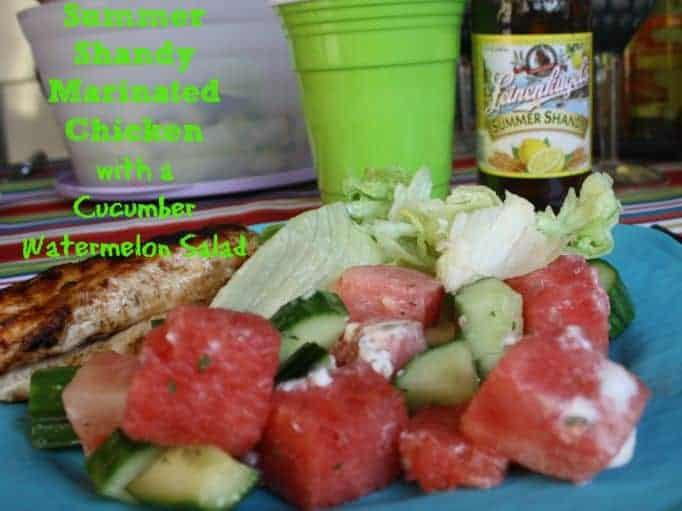 marinated chicken and cucumber watermelon salad