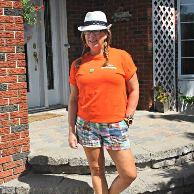 Orange shirt  and J Crew shorts with Jord Watch