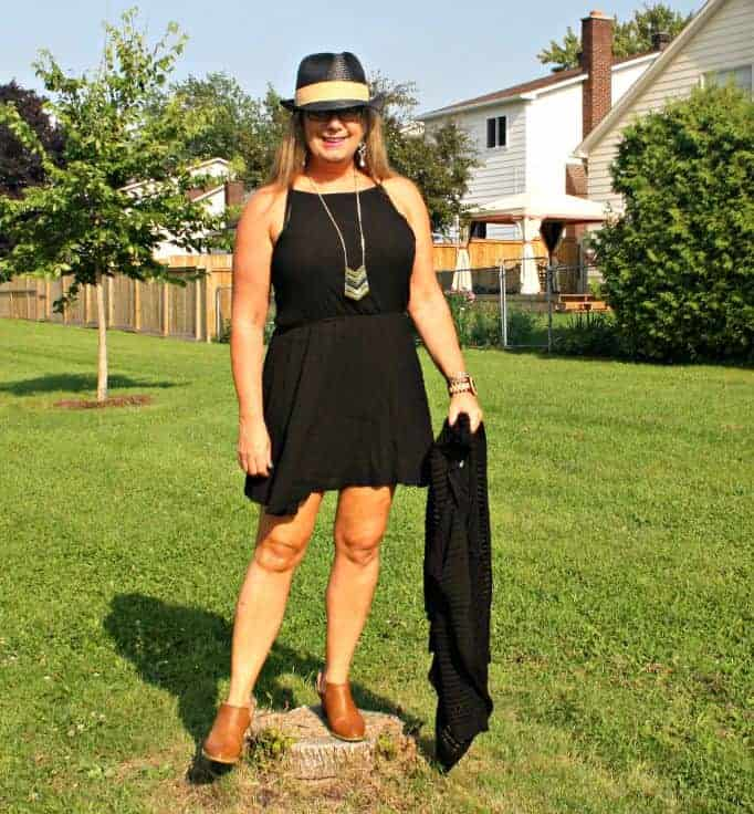 Black  chiffon dress, with fedora and booties
