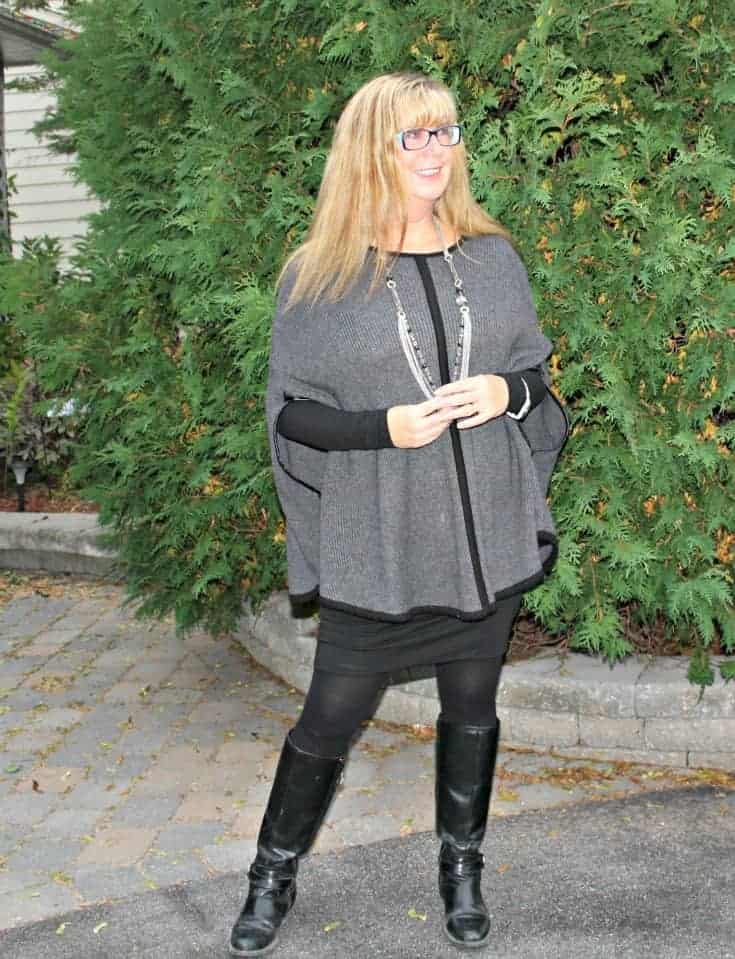 Forever 21 Poncho,GH Bass Boots and multi strand necklace