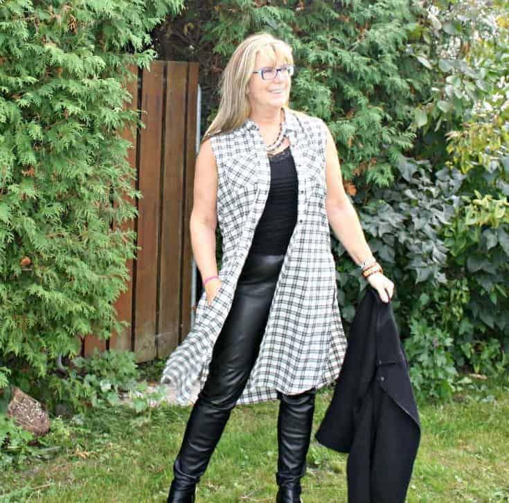 houndstooth duster and leather leggings