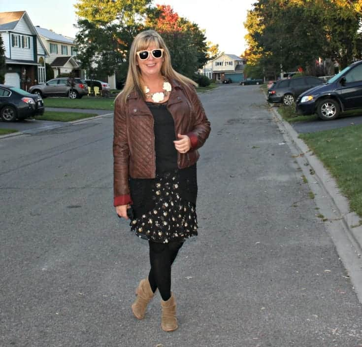 moto jacket and floral chiffon skirt, with konifer glasses and rodeo boots