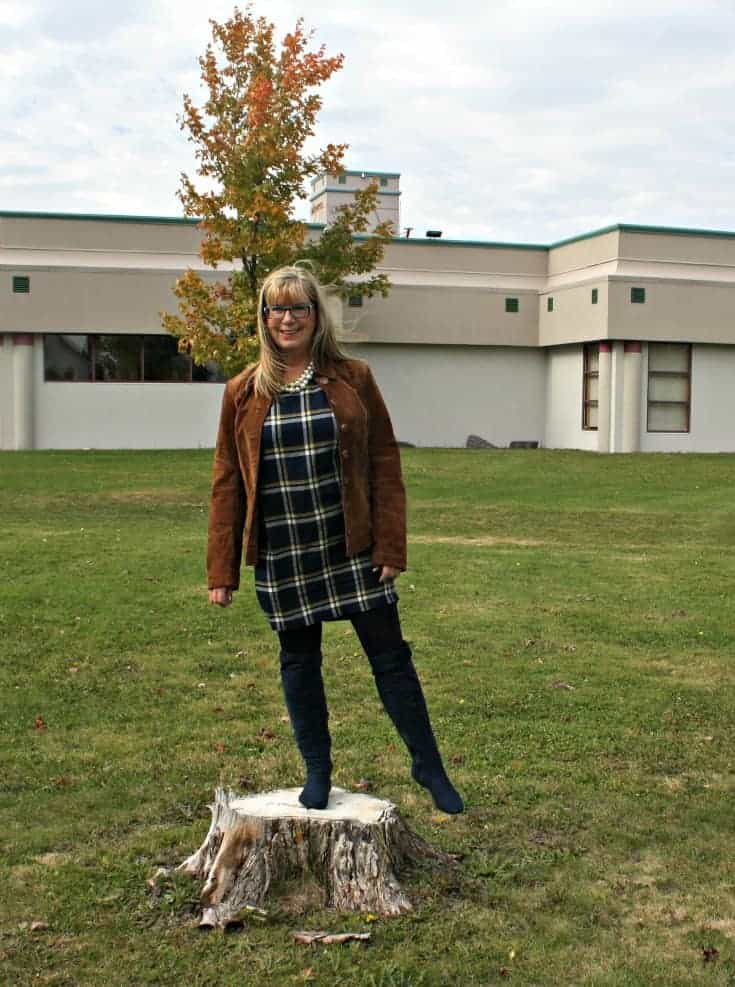 Old Navy Plaid Dress with OTK Blue Suede Boots and Danier Leather suede cognac jacket