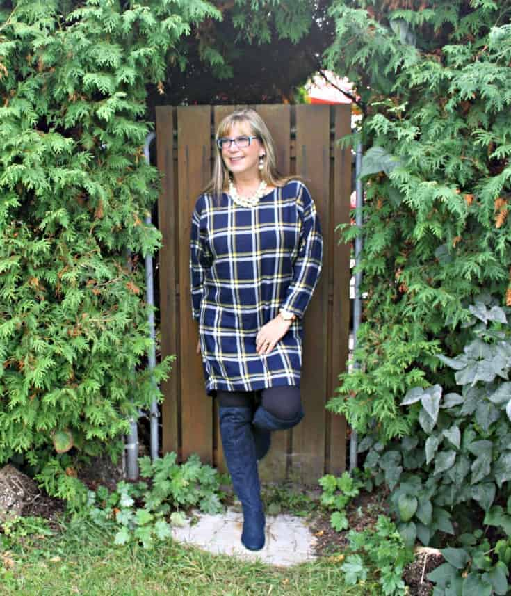 Blue suede boots from Giant tiger and Old Navy Plaid Dress with pearls