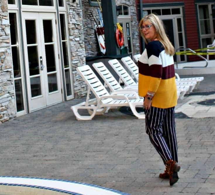 Old Navy Harper pants, striped sweater and leopard boots