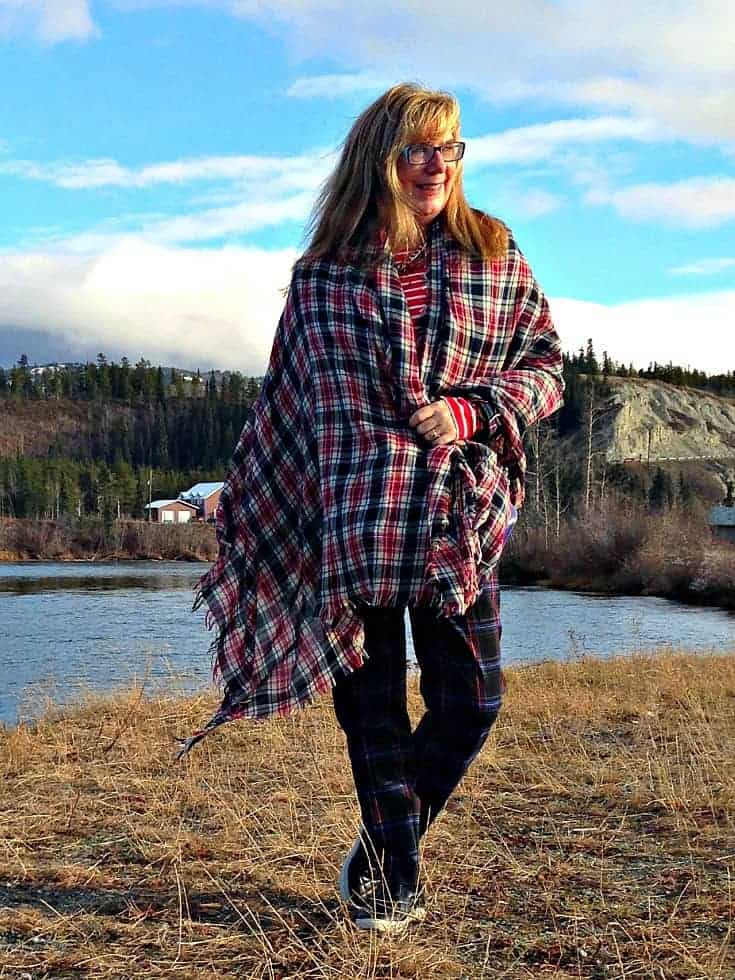 Target Plaid suit and Old Navy striped top with a plaid scarf