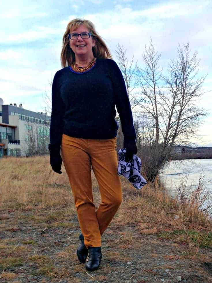 Jones NY Cashmere sweater and Old Navy pixie pants