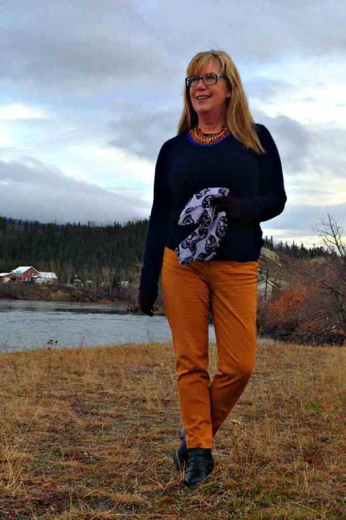Jones NY Cashmere sweater and Old Navy pixie pants with a lookbook necklace
