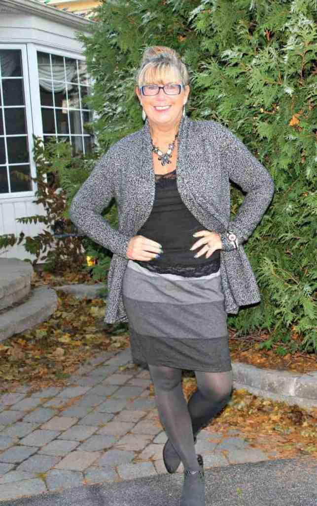 VanHeusen Tweed sweater and Forever 21 Boots