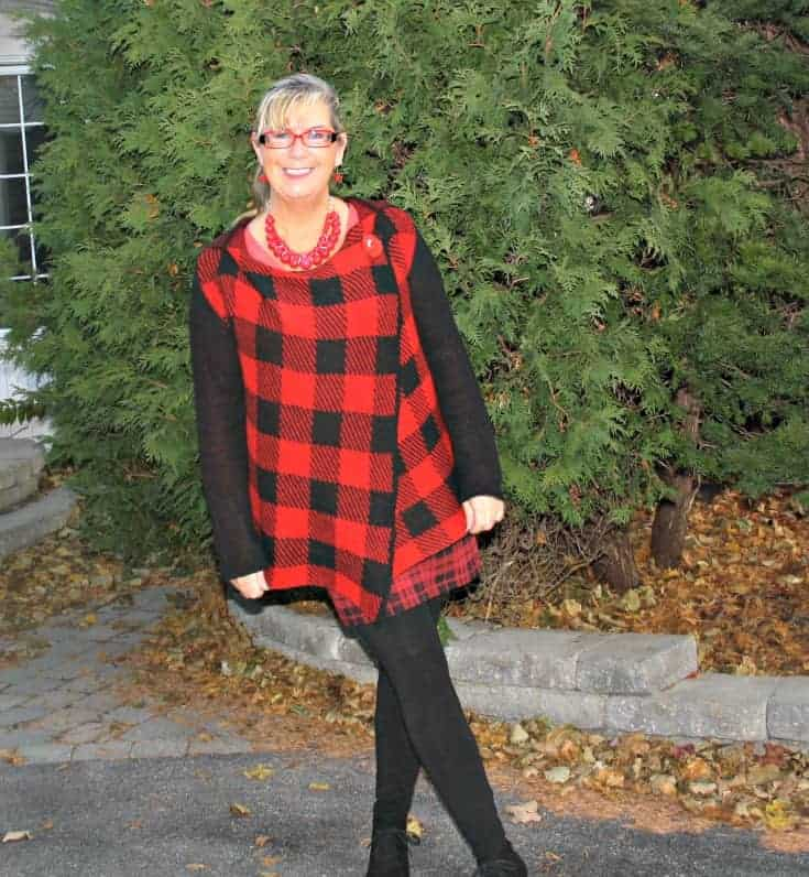 Hudsons Bay Company Red plaid hooded sweater and George skirt with Wedge boots and LNBF leggings