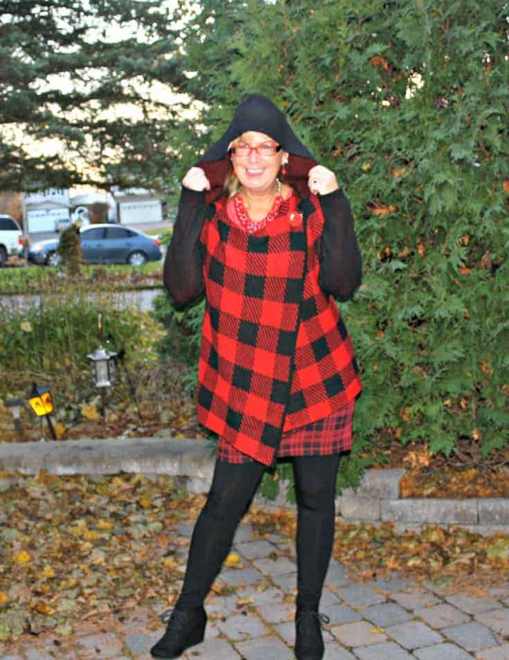 HBC hooded Red plaid sweater with Wedge boots and LNBF leggings