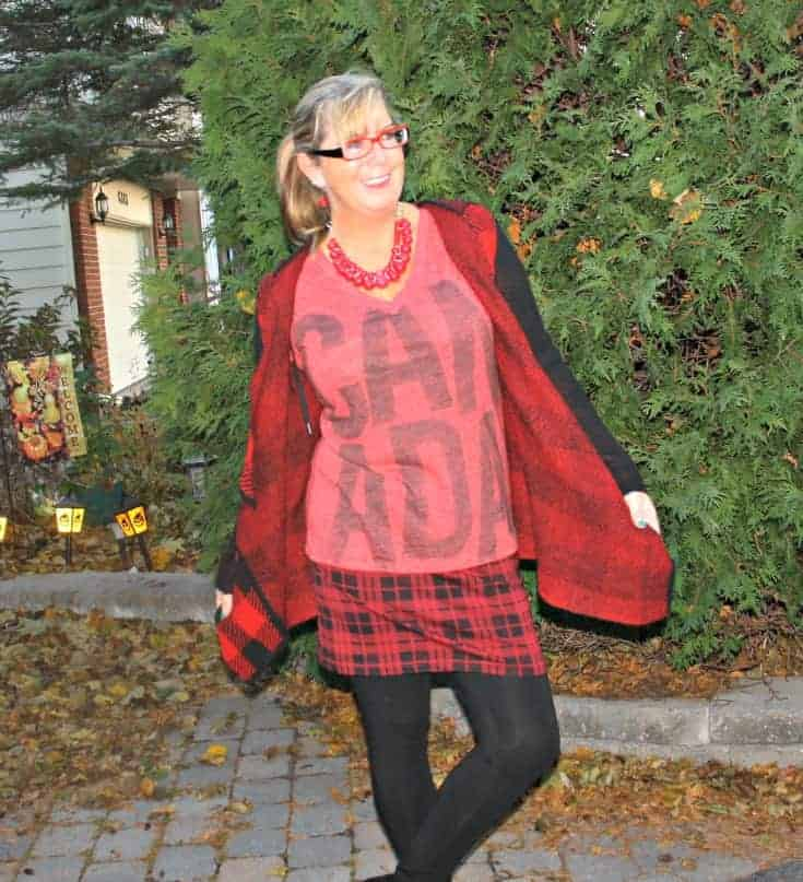 Canada Tee and a red plaid skirt