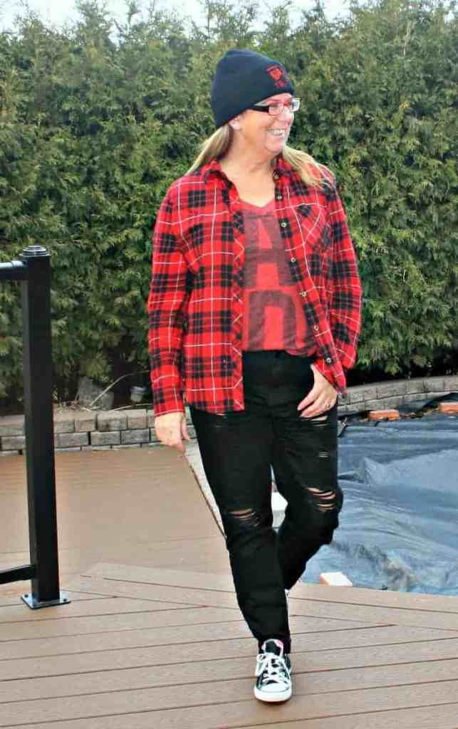 distressed denim, buffalo Plaid and a Canada Shirt from Old Navy with a toque,
