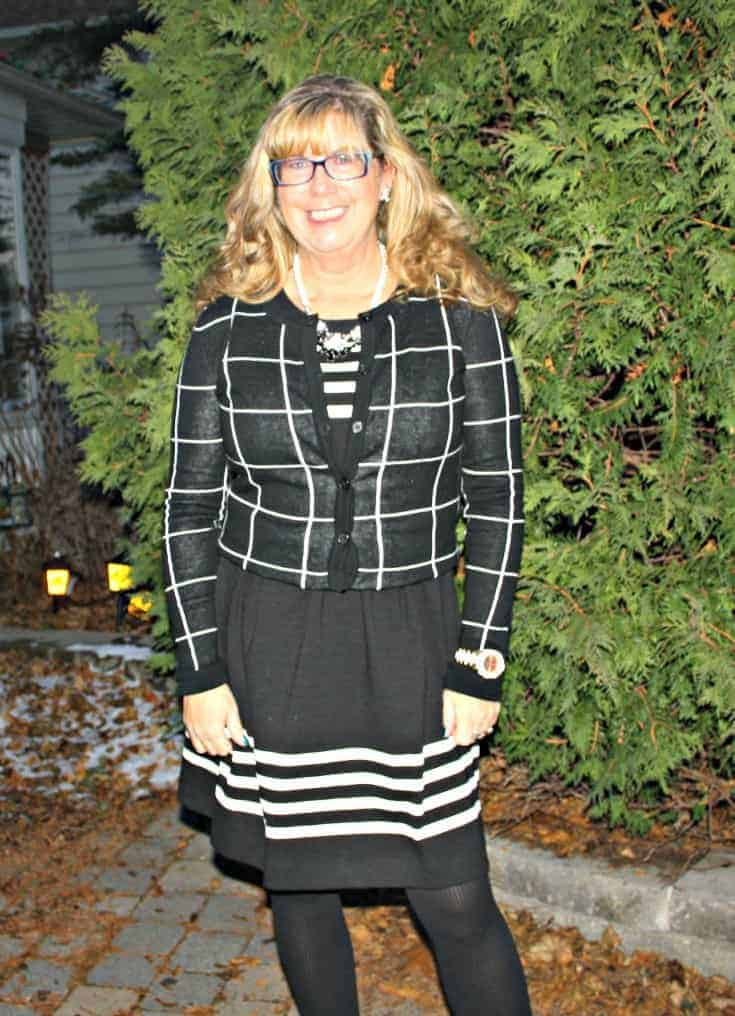 Black and white dress with windowpane sweater from Target with Kate Spade Watch