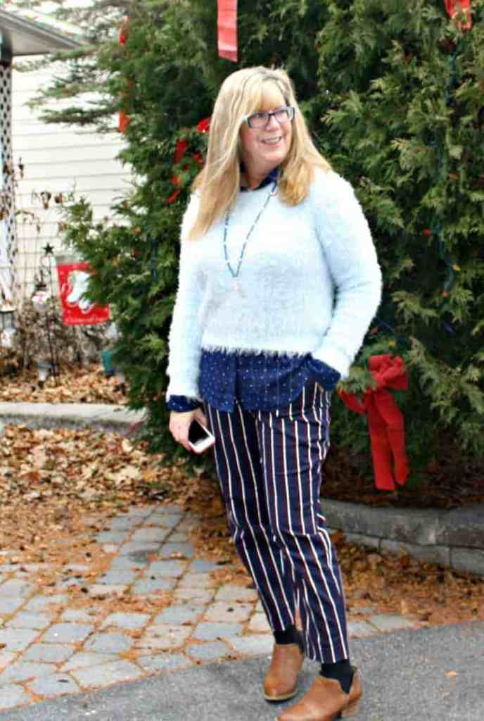 Harper Pants and polka dot shirt  from Old Navy, Sweater and Booties from Forever 21,